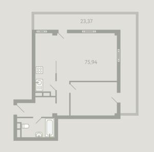 Планировка двухкомнатной квартиры в Загородный квартал